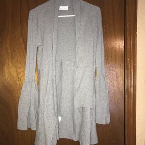 Grey bell sleeve long cardigan